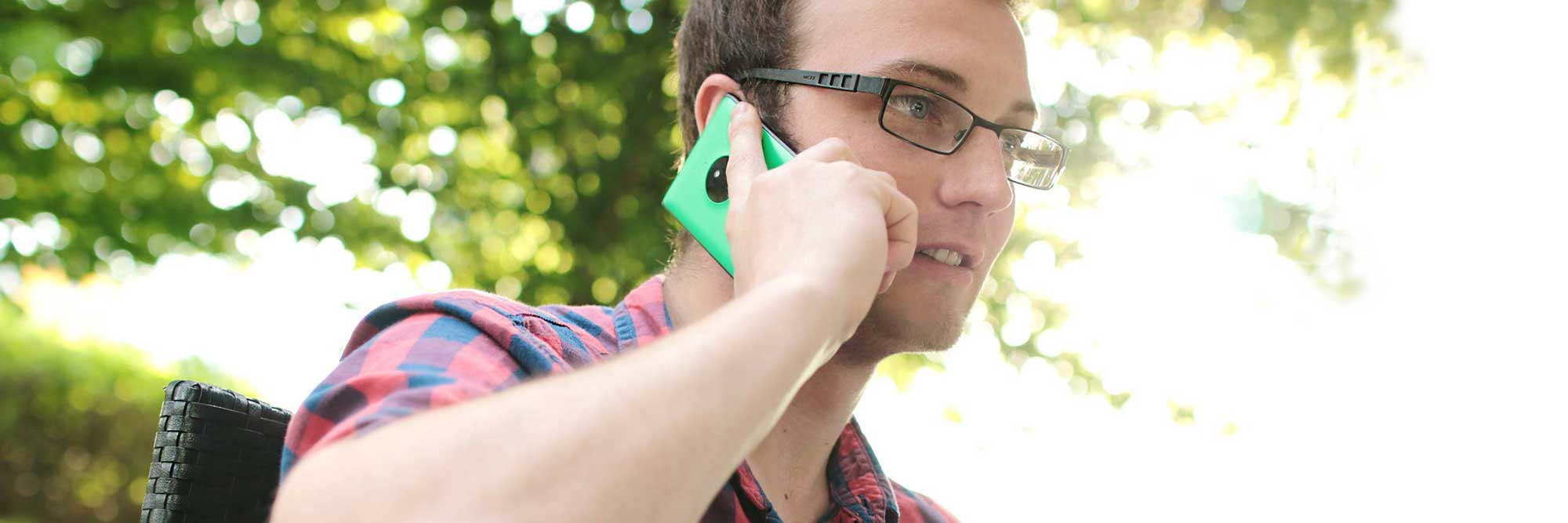Man holding mobile phone to his ear