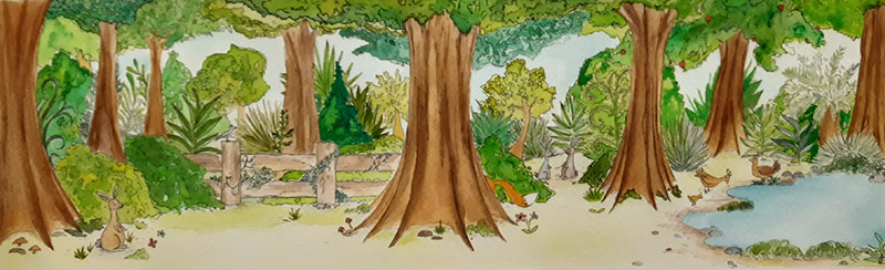 artwork of trees in forest
